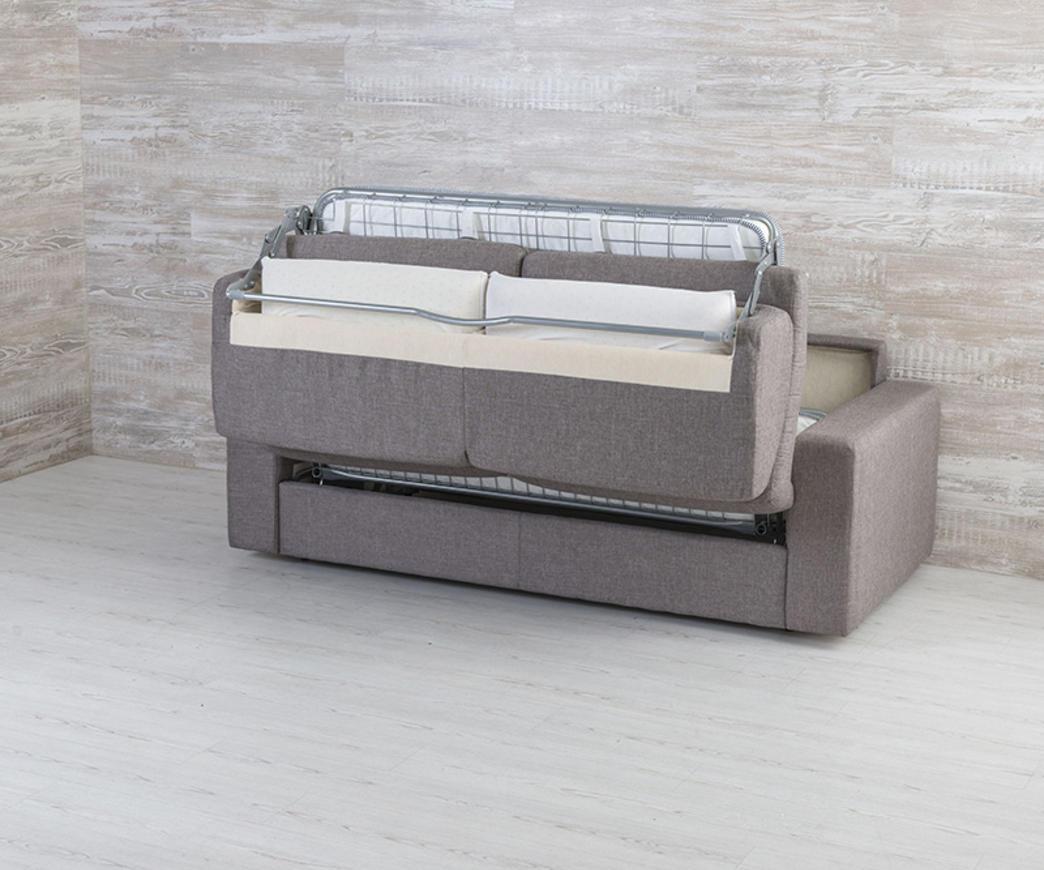 Divano letto matrimoniale marsiglia tortora con materasso da 160 cm duzzle - Divano letto 160 cm ...