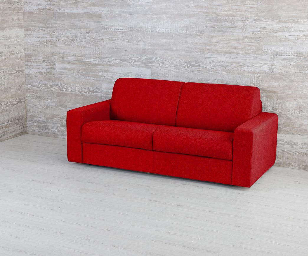 divano letto matrimoniale marsiglia rosso con materasso da 160 cm