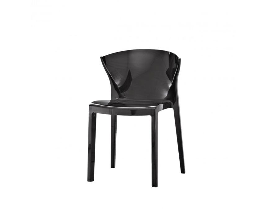 Sedia moderna nord in policarbonato nero lucido duzzle