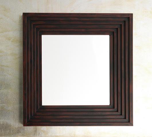 Duzzle specchio quadrato con cornice in ecopelle qu055