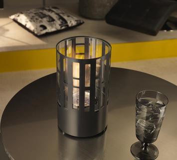 Duzzle caminetto a bioetanolo stones da tavolo nero tondo