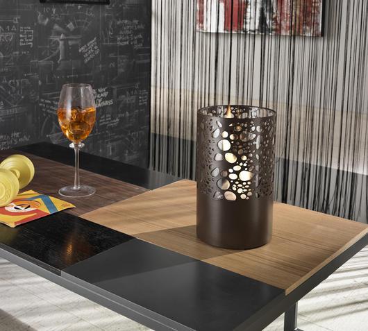 Duzzle caminetto a bioetanolo stones da tavolo nero design tondo