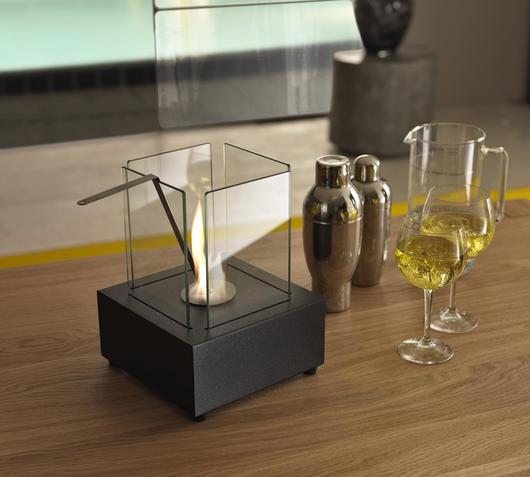 Duzzle caminetto a bioetanolo stones da tavolo nero base quadrata