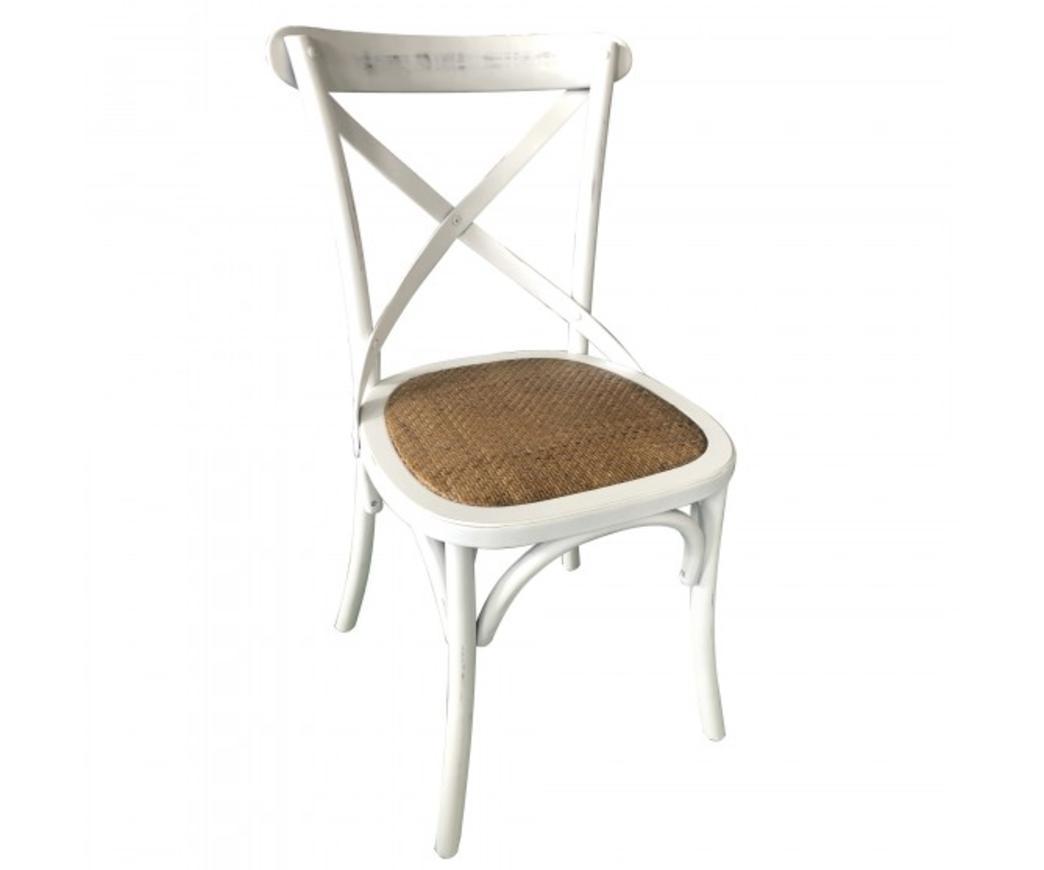 Sedia Country in legno di betulla bianco vintage e seduta in rattan ...