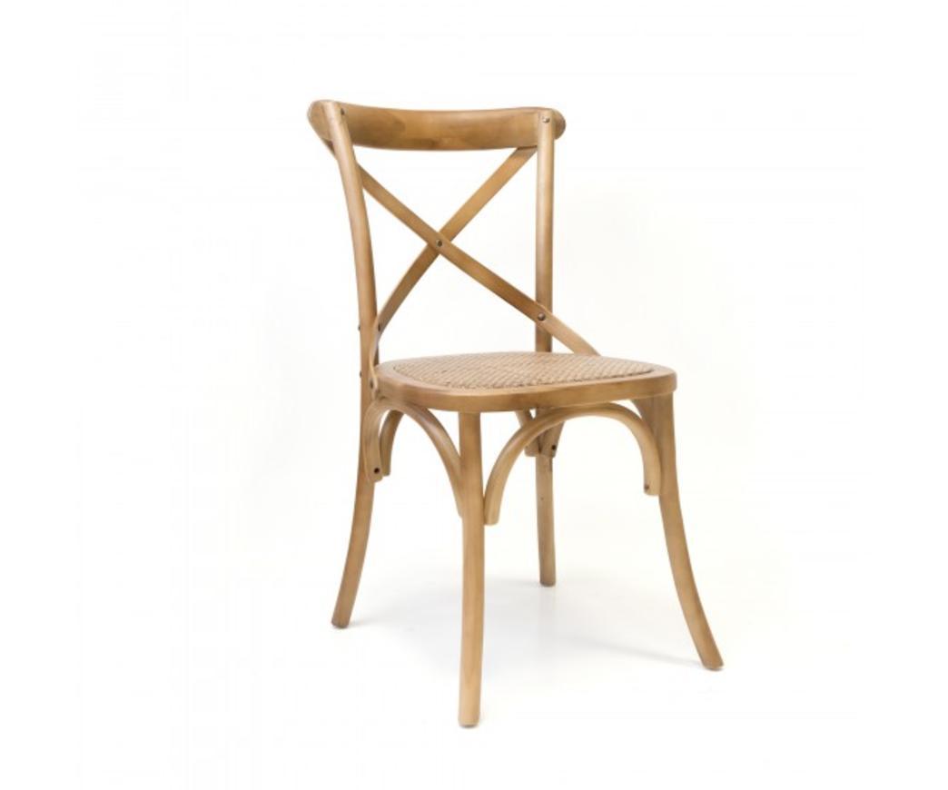Sedia Country in legno di betulla color nocciola e seduta in rattan