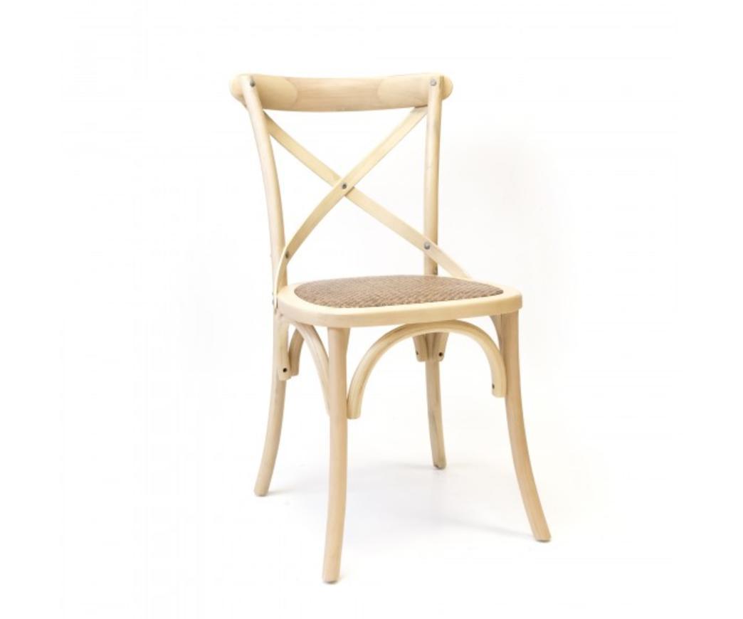 Sedia Country in legno di betulla color perla e seduta in rattan