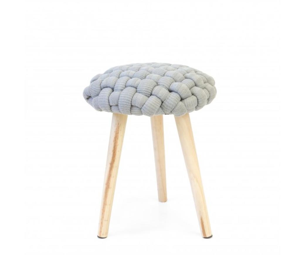 Sgabello braid con seduta rivestita in tessuto intrecciato grigio