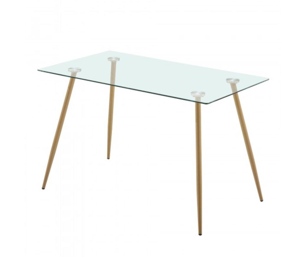 Tavoli Da Giardino Larghi 70 Cm.Tavolo Mirage In Vetro Con Gambe In Metallo Effetto Legno 120 X 70
