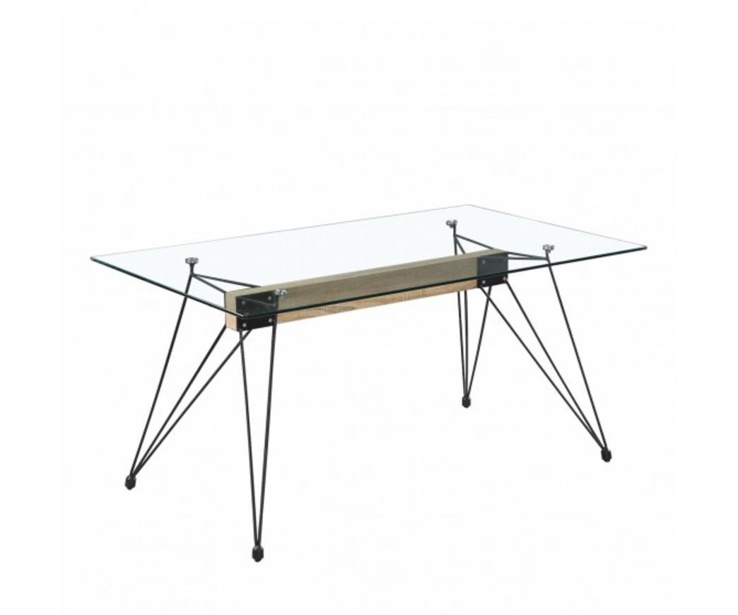 Tavolo in vetro Morgan con gambe in metallo (140 x 90 cm)