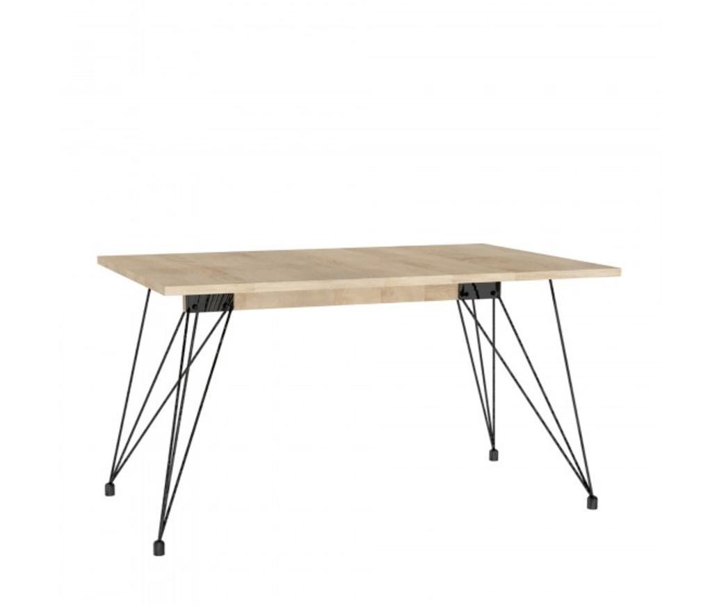Tavolo Morgan con top in MDF color rovere e gambe in metallo (140 x 90 cm)