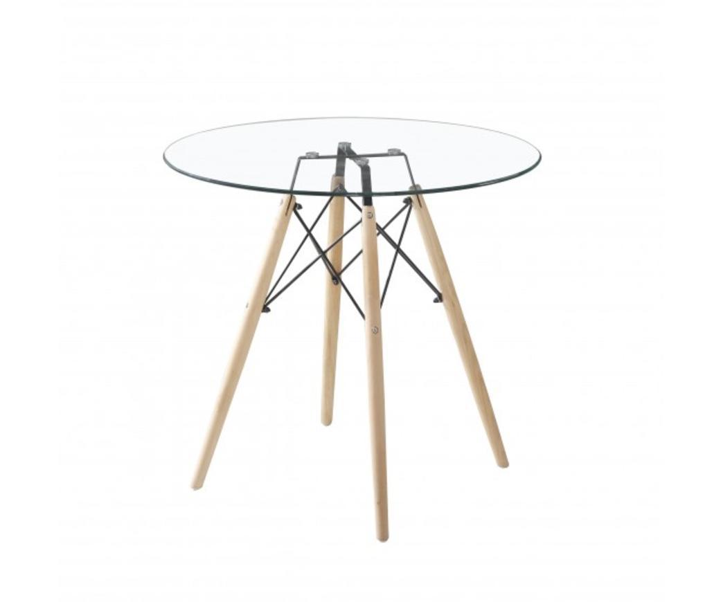 Tavoli Da Pranzo Rotondi In Vetro.Tavolo Da Pranzo Rotondo Sebastian Con Top In Vetro E Gambe Legno