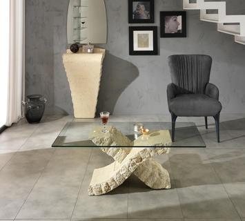 Duzzle tavolinetto xenon stones vetro e pietra bianca salotto