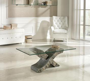 Duzzle tavolino stones xenon pietra grigia e vetro salotto