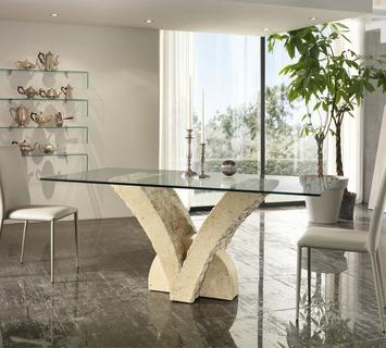 Duzzle tavolo a stones papillon in pietra bianca vetro