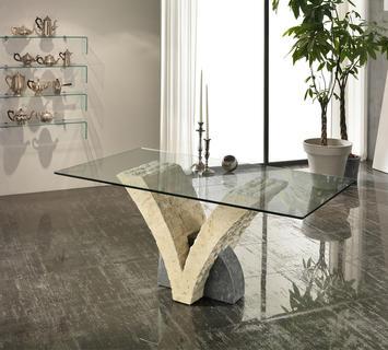 Duzzle tavolo a papillion stones vetro e pietra bianca