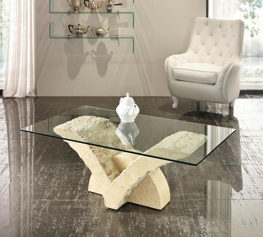 Duzzle tavolino papillon stones pietra bianca e vetro salotto