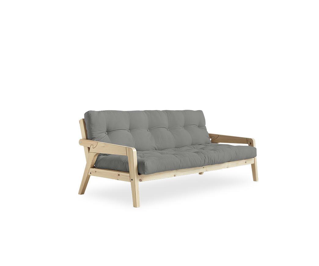 Divano Grab di Karup con materasso grigio chiaro e struttura color legno  natural