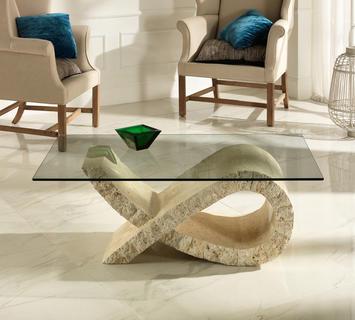 Duzzle tavolinetto fiocco stones pietra bianca e vetro salotto