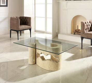 Duzzle tavolino stones salotto virgola vetro e pietra bianca