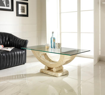 Duzzle tavolinetto stones gondola pietra bianca con vetro