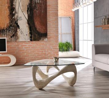 Duzzle tavolinetto stones tetris salotto in vetro e pietra bianca