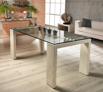 Duzzle tavolo a millerighe stones in vetro e pietra bianca(2)