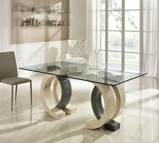 Duzzle tavolo a olimpia stones in vetro pietra bianca e grigia