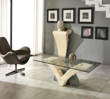 Duzzle tavolino papillon stones pietra bianca grigia e vetro salotto