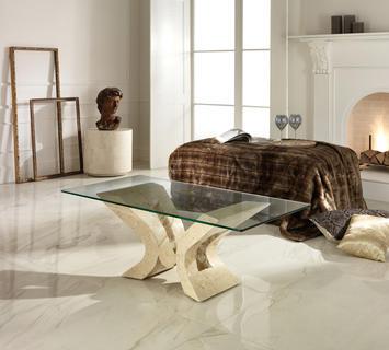 Duzzle tavolinetto stones onyx salotto in vetro e pietra bianca