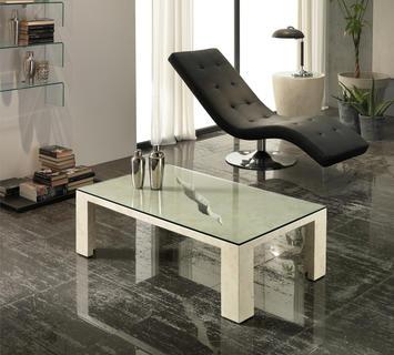 Duzzle tavolinetto rettangolare stones crack salotto in vetro e pietra bianca