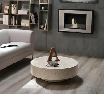 Duzzle tavolinetto stones round1 in pietra bianca rotondo