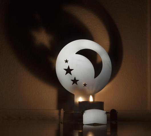 Duzzle portalumini natalizio in acciaio luna e stelle wecan003