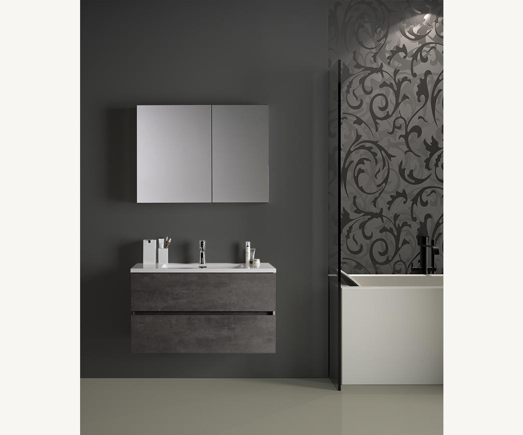 Mobile Bagno A Specchio.Mobile Bagno Sospeso Edi 90 Cm Effetto Cemento Con Specchio