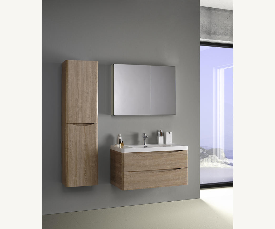 Mobile Bagno Specchio Contenitore.Mobile Bagno Sospeso Smile 90 Cm Rovere Con Specchio Contenitore