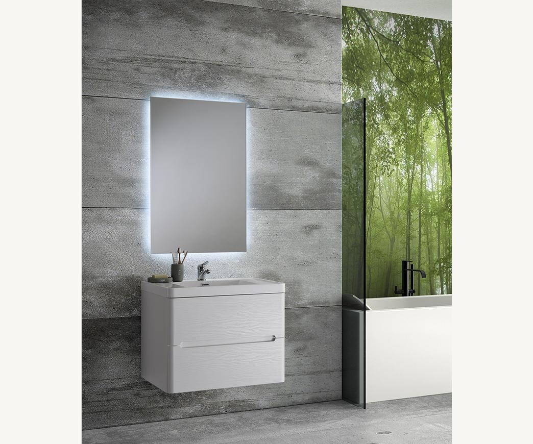 Mobile Bagno Sospeso River 70 cm bianco con specchio Led retro illuminato