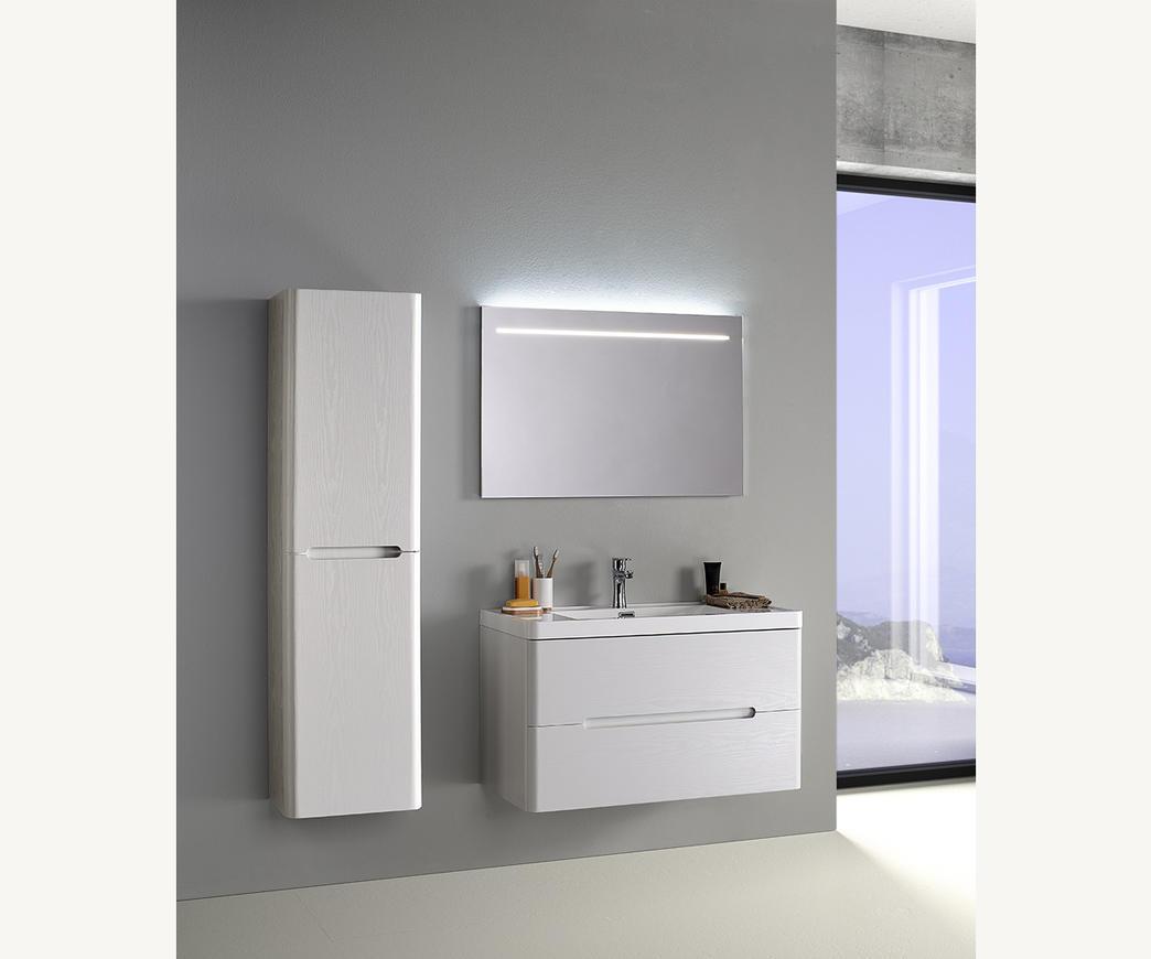 Colonna Specchio Bagno.Mobile Bagno Sospeso River 90 Cm Bianco Con Specchio E Colonna