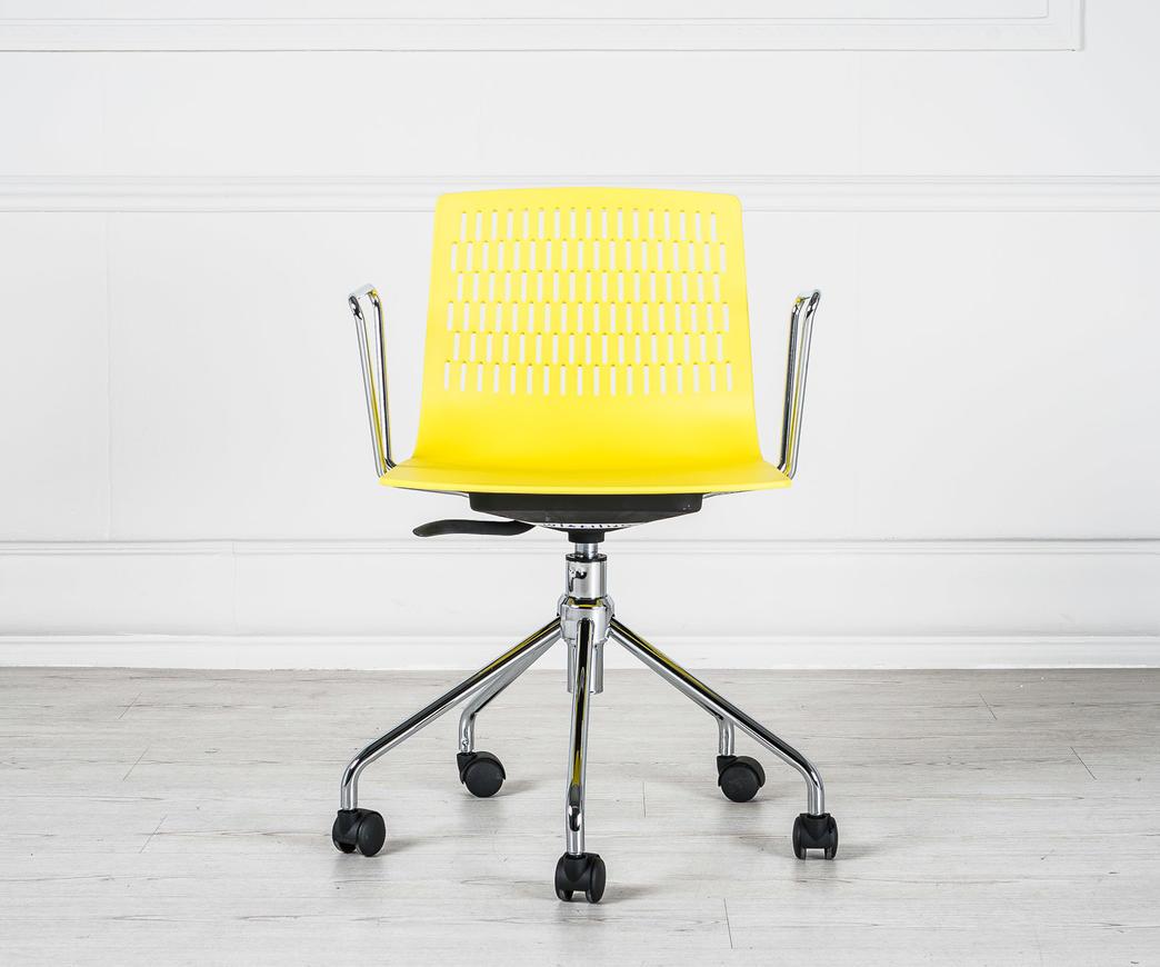 Sedie Da Ufficio Plastica.Poltroncina Da Ufficio Elliot Con Rotelle Gialla Duzzle