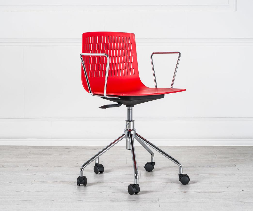 poltroncina da ufficio elliot con rotelle rossa duzzle