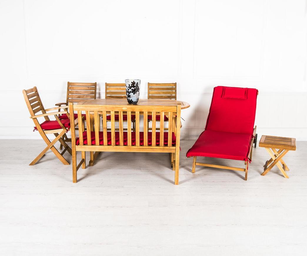 Set da giardino rosso in legno di acacia duzzle for Set giardino legno