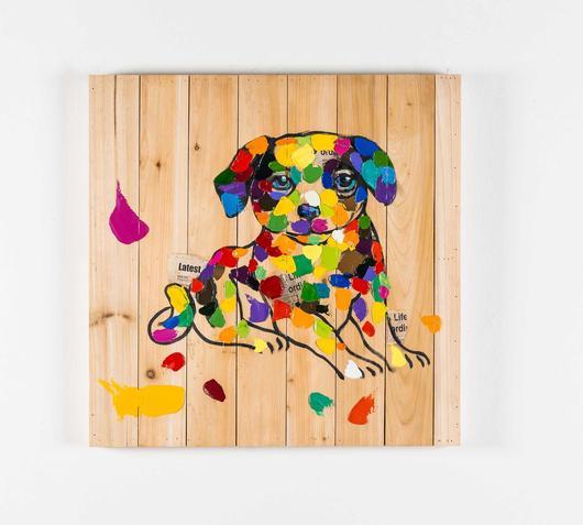 Duzzle quadro olio legno cucciolo