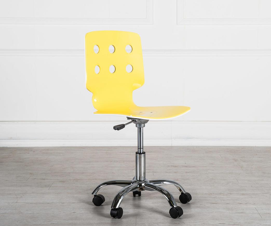 Sedia con rotelle bianca e gialla duzzle