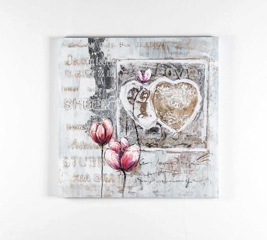 Quadro olio tela romanticismo cuore tulipani