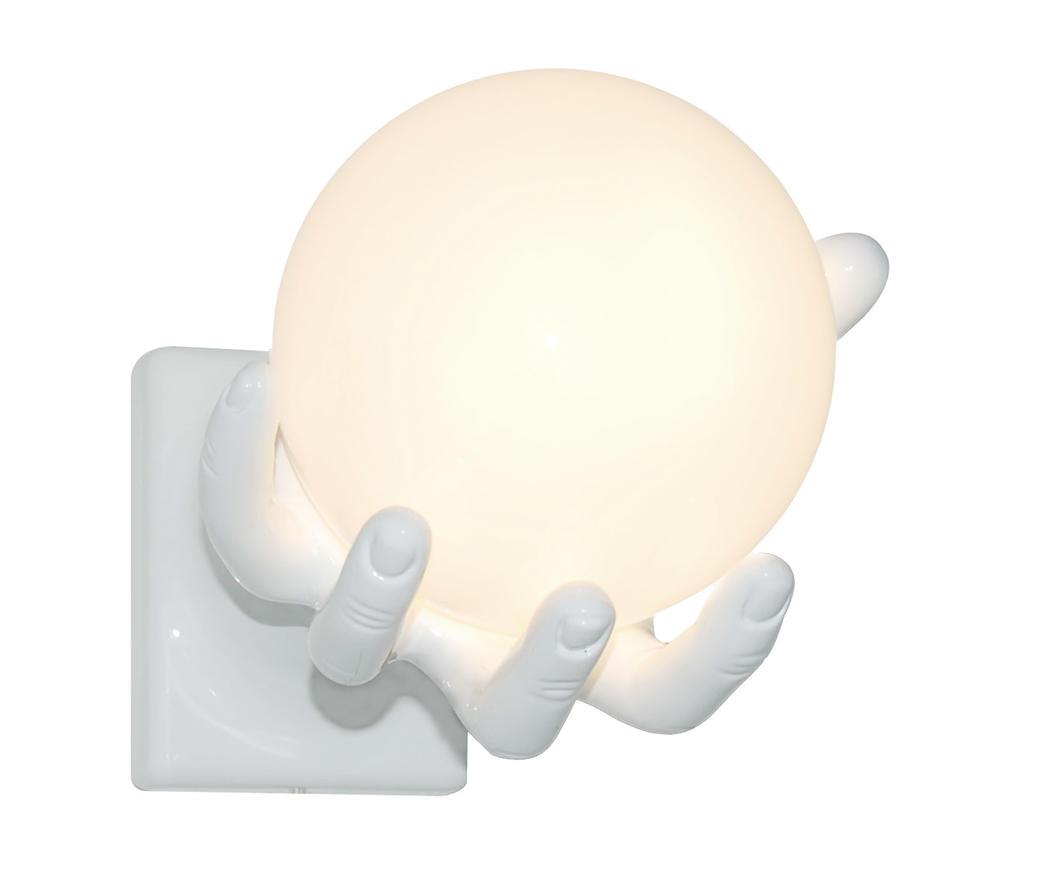 Lampada da parete mano globo bianca duzzle