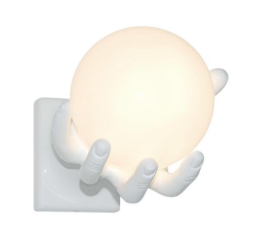 Lampada parete tavolo mano bianca globo