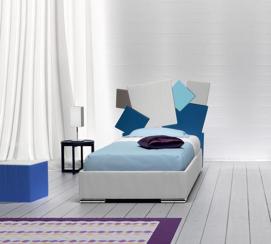 Duzzle letto singolo square blu azzurro bianco
