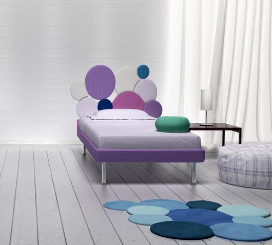 Duzzle letto singolo round viola bianco ciclamino