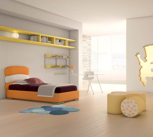 Duzzle letto singolo polis arancione