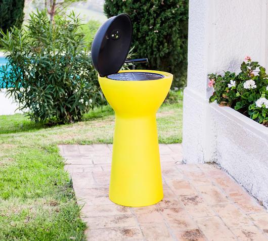 Duzzle barbecue rotelle giallo my balconia aperto