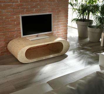 Duzzle porta tv tavolinetto in pietra fossile bianca