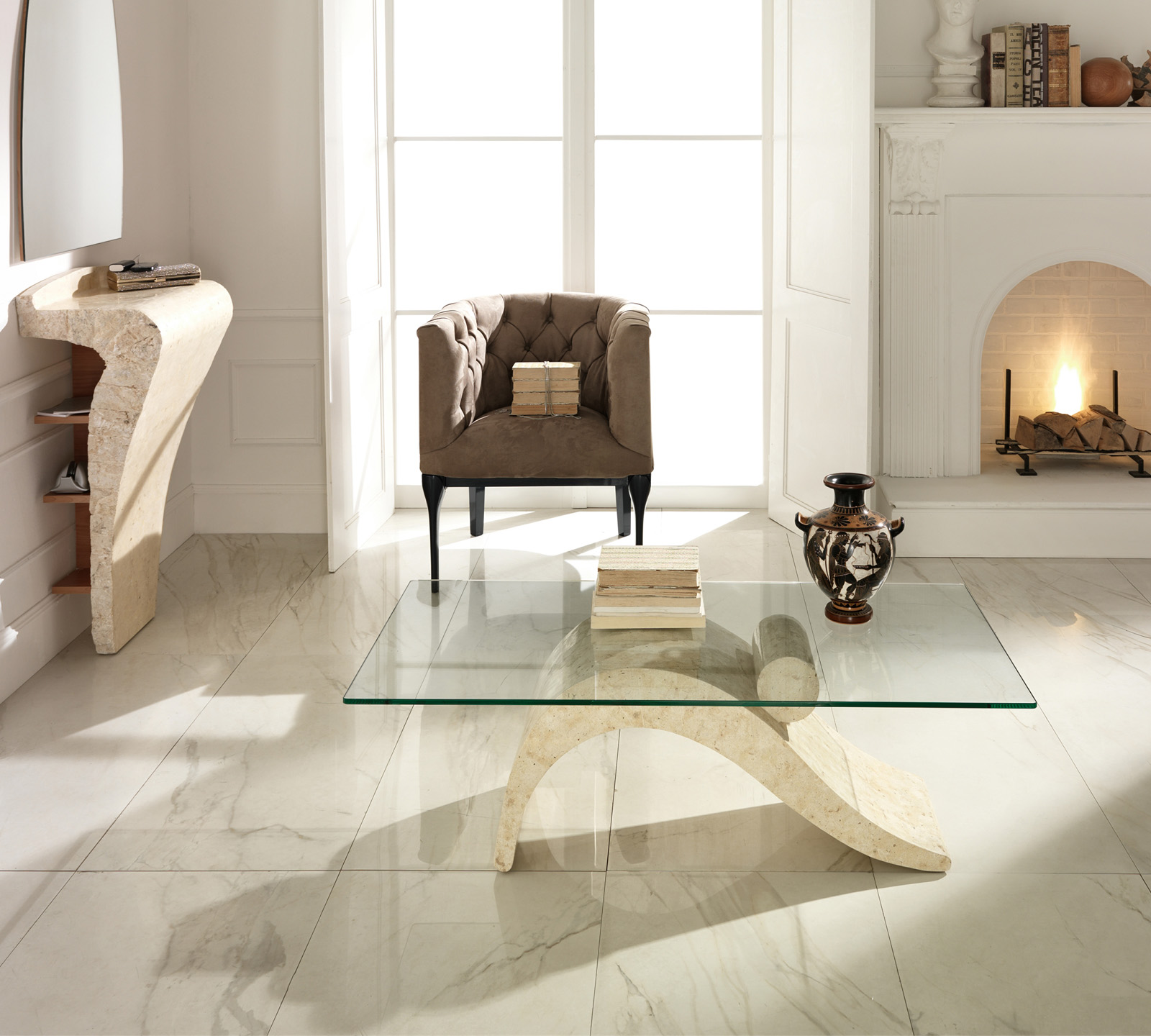 Tavolino Dove in pietra fossile bianca | Duzzle